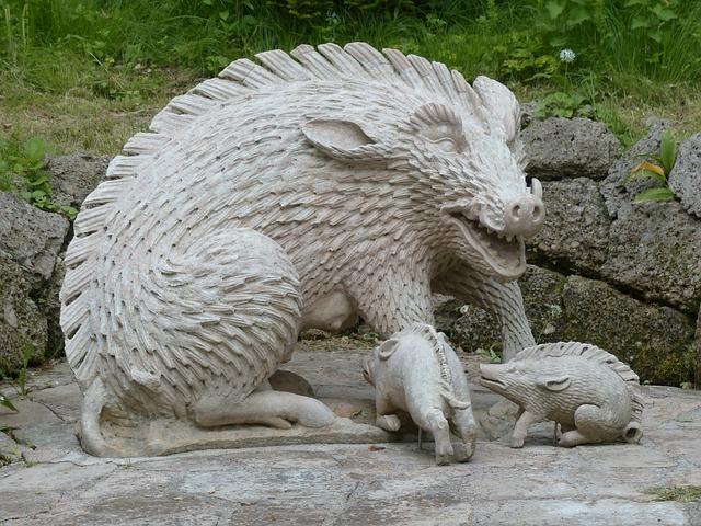 Stone Figure, Boar, Pig, Hellbrunn, Salzburg, Austria