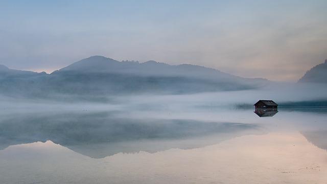Mist, Lake, Cottage, Mountains, Salzkammergut, Austria