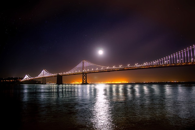 San Francisco, Oakland, Bay Bridge, Water, Reflections