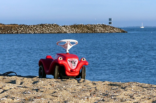 Nature, Sand Beach, Water, Children Vehicle, Bobby Car