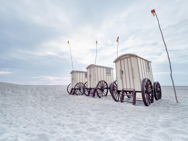 Norderney, Badekarren, Beach, Sky, Sand, North Sea