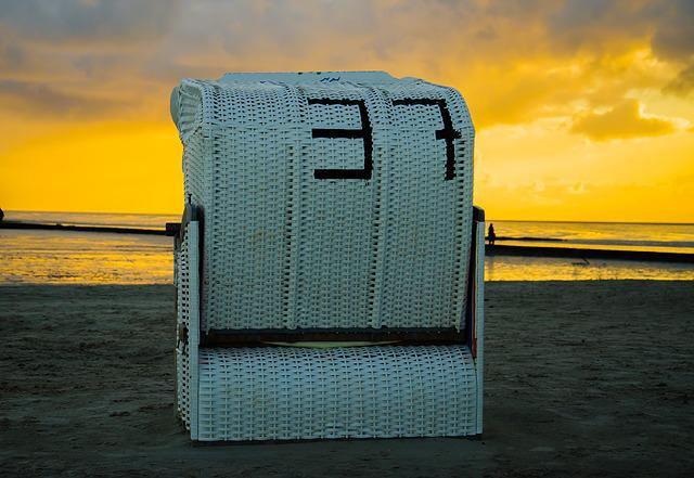Sunrise, Sunset, Beach Chair, Sand, Beach, North Sea
