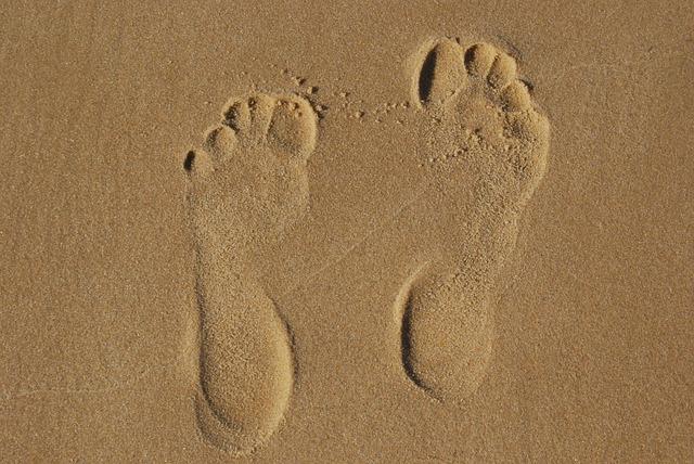 Sand, Footprint, Tracks In The Sand, Footprints, Beach