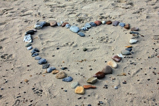 Beach, Sand, Stones, Heart, Love, Holiday