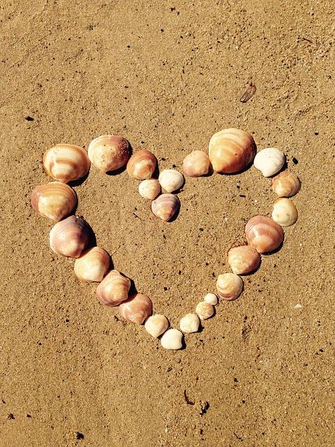 Heart, Love, Shell, Sand, Sea, Yellow, Ibiza, Tinker