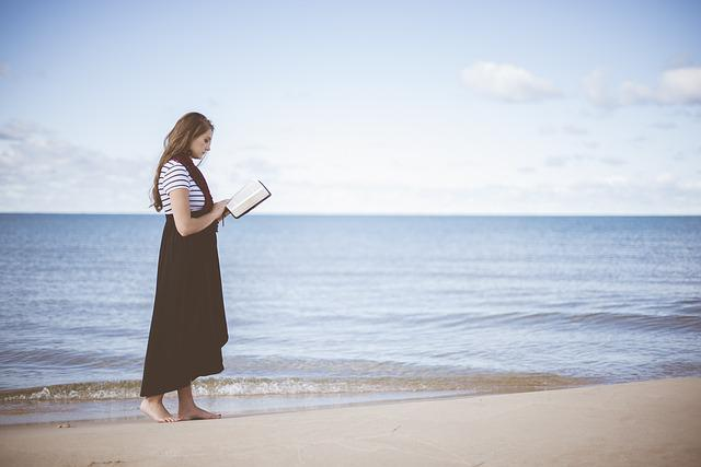Beach, Girl, Ocean, Person, Reading, Sand, Sea