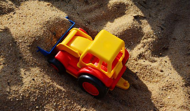 Sand Pit, Excavators, Scoop, Plastic Toys, Site