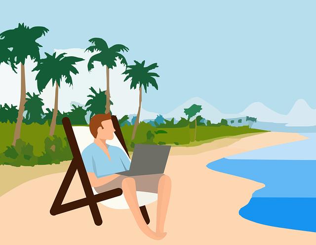 Cartoon, Sand, Beach, Palm, Tree, Sea, Shore