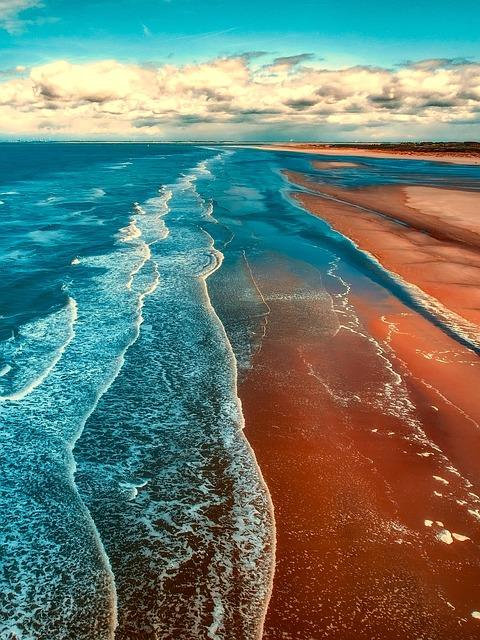 Sea, Ocean, Coastline, Coast, Sky, Clouds, Beach, Sand