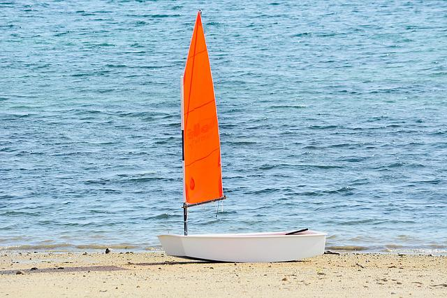 Sailboat, Red Sail, Beach, Sand, Sun, Navigation, Sport