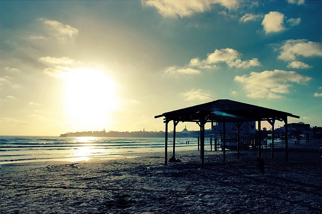 Beach, Sand, Shore, Sunset, Dusk, Gazebo, Sky, Clouds