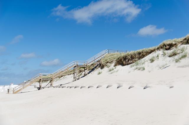 Dune, Wood, Stairs, Beach, Westerland, Sylt, Sand, Sky