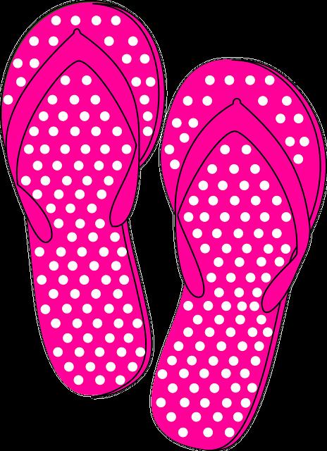 Thongs, Flip Flops, Pink, Dots, Summer, Beach, Sandal