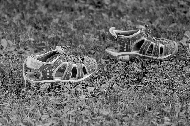 Shoe, Sandals, Children's Shoes, Black And White