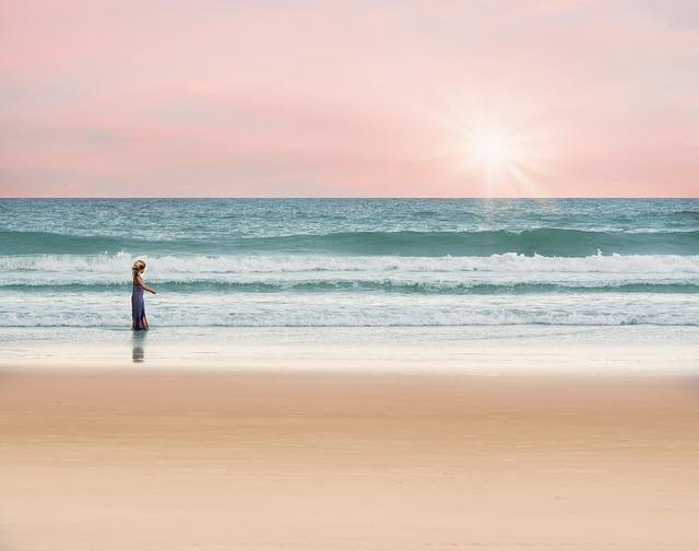 Girl, Walking, Beach, Sand, Sandy Beach, Shore