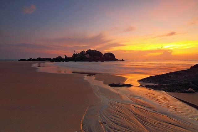 Sunset, Beach, Sand, Rock Formations, Sandy Beach