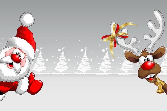 Christmas Card, Christmas, Santa Claus, Reindeer
