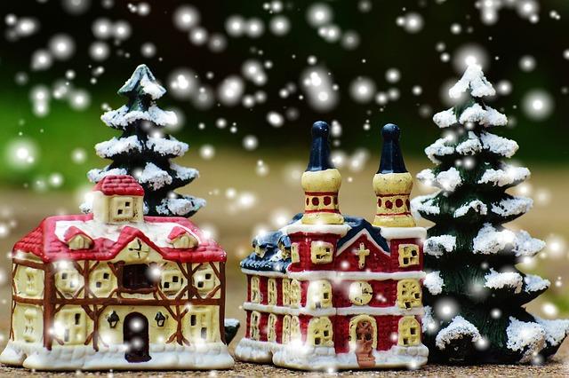 Christmas, Christmas Village, Church, Fig, Santa Claus