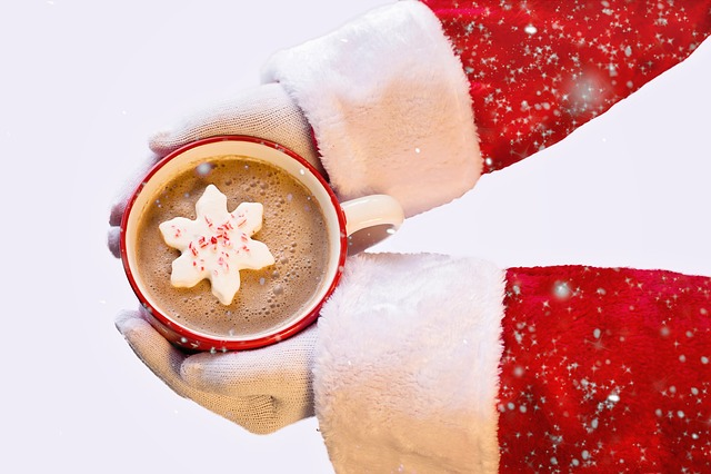 Santa Claus, White Background, Hot Chocolate, Christmas