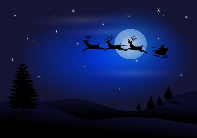 Moon, Silhouette, Santa Claus, Reindeers, Santa, Claus
