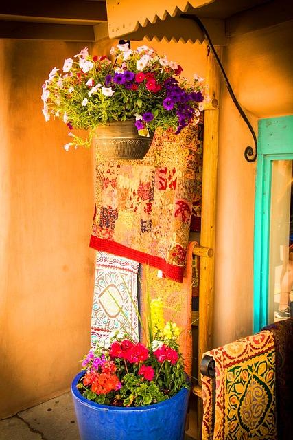Adobe, Santa Fe, New Mexico, Flowers, Porch