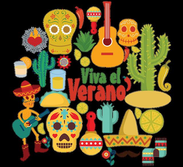 Mexico, Guitar, Cactus, Desert, Skulls, Santa Muerte