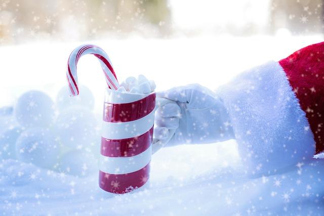Santa's Arm, Hot Chocolate, Cocoa, Christmas, Snow, Cup