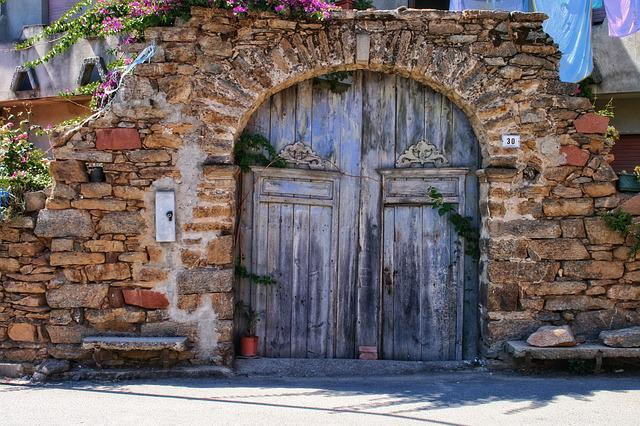 Italy, Sardinia, Ballao, Old Blue Door