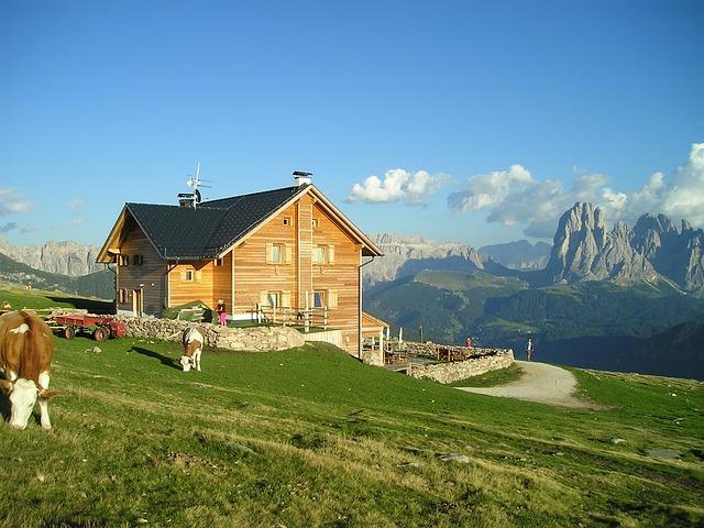 Raschoetzhuette, Hut, Alm, Sassolungo, Mountains