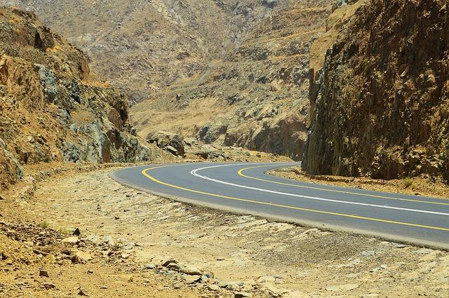 Saudi, Arabia, Mountain, Pass, Highway, Desert, Yellow