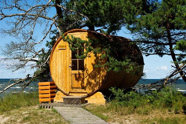 Latvia, Cape Kolka, Sauna, Sea