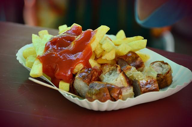 Ketchup, French Fries, Currywurst, Fast Food, Sausage