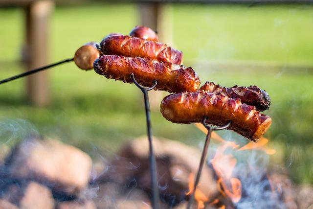 Campfire, Sausage, Sausage Roasting, Sausages, Meat
