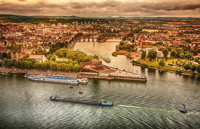Rhine River, Aerial View, Germany, River, Saxony