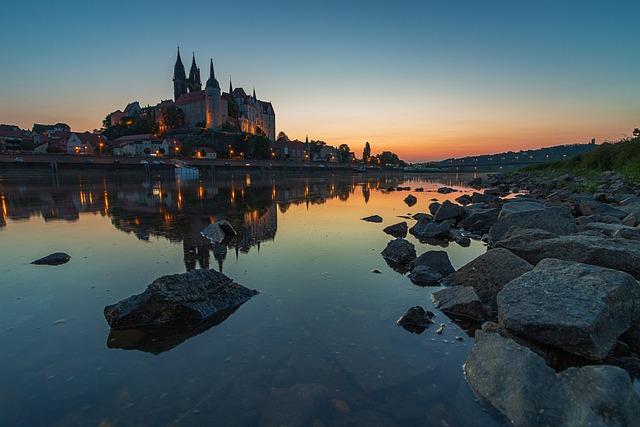 Meissen, Elbe, Saxony, Albrechtsburg Castle, Mirroring