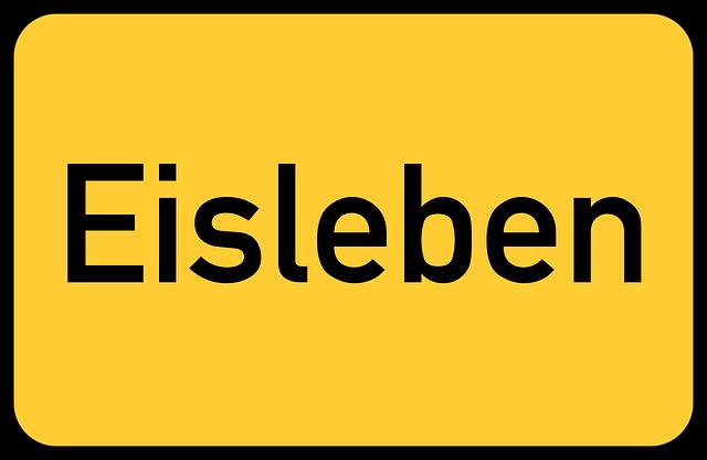 Eisleben, Saxony-anhalt, Luther, Lutherstadt, Town Sign