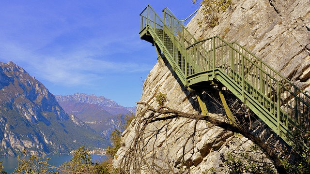 Scale, Sky, Rock, Climb, Mountain, Lake, Staircase