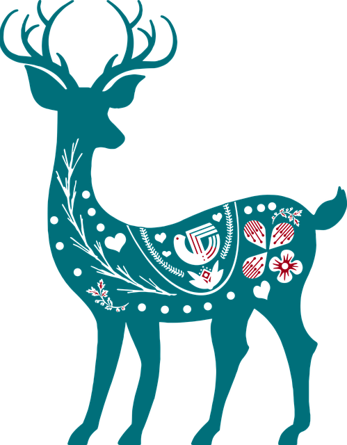 Scandia Christmas, Red And Blue, Nordic, Deer, Scandia