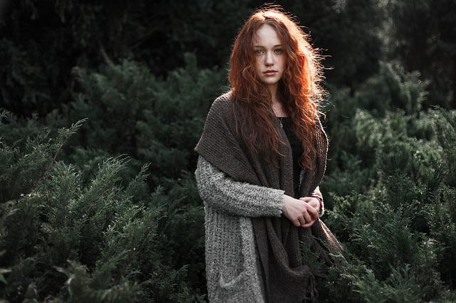 Woman, Redhead, Scarf, Knitted, Knitwear, Fashion