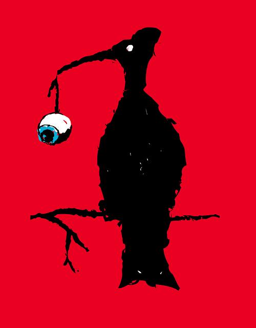 Bird, Carnivore, Eyeball, Horror, Scary, Red Birds