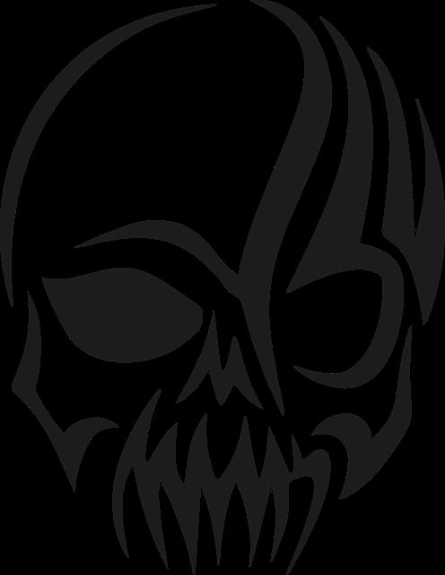 Tribal, Skull, Head, Cranium, Silhouette, Evil, Scary