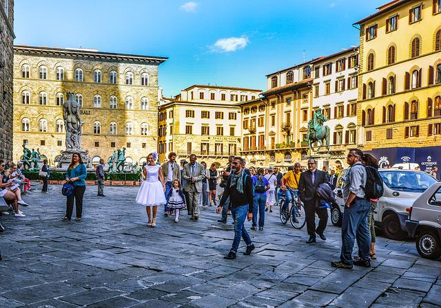 Florence, Wedding, City, Italy, Scene, Woman, Child