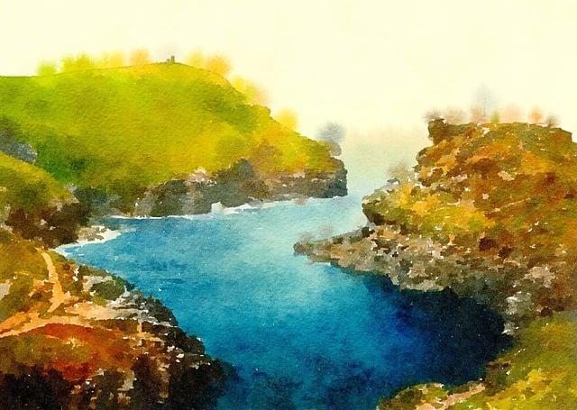 Watercolour, Watercolor, Painting, Scene, Scenic