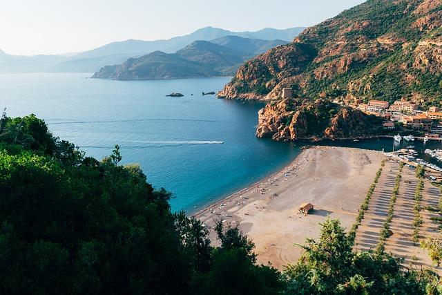 Coast, Corsica, Landscape, Scenery, Hills, Beach, Water