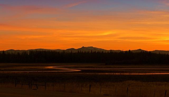 Sunset, Beautiful, Landscape, Scenery, Mountain, Lake