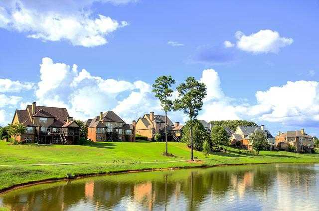 Houses, Neighbourhood, Landscape, Lake, Scenery