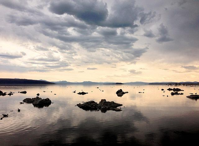 Lake, Reflection, Mono Lake, Clouds, Nature, Scenery