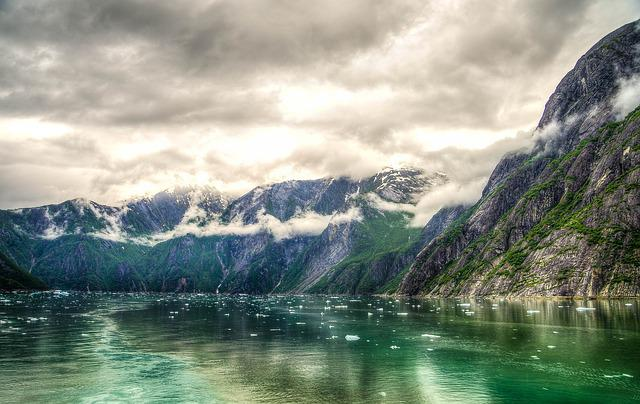 Tracy Arm Fjord, Alaska, Juneau, Mountains, Hdr, Scenic