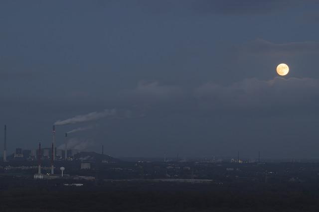 Industry, Power Station, Moon, Gelsenkirchen, Scholven