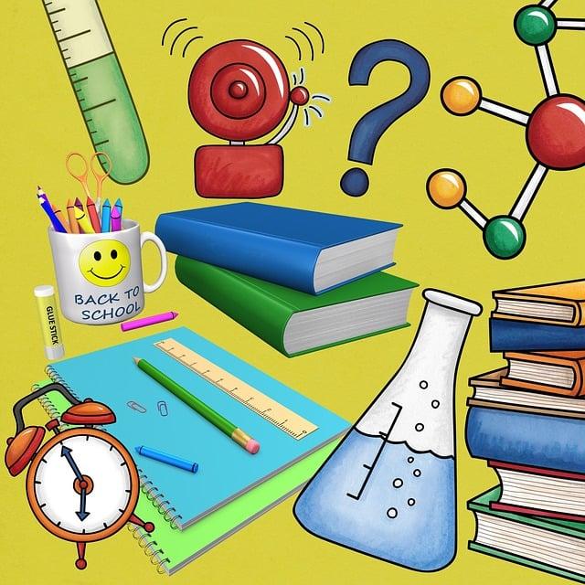 School, Books, Background, Scrapbook, Blue, Modern